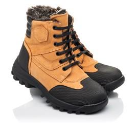 Детские зимние ботинки на меху Woopy Orthopedic рыжие для мальчиков натуральный нубук размер 23-30 (4475) Фото 1