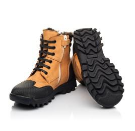 Детские зимние ботинки на меху Woopy Orthopedic рыжие для мальчиков натуральный нубук размер 23-30 (4475) Фото 2