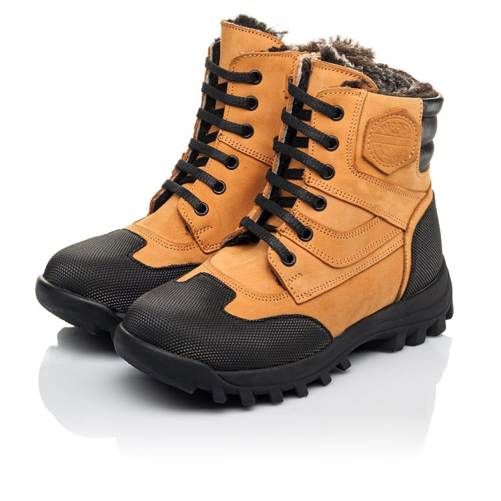 Детские зимние ботинки на меху Woopy Orthopedic рыжие для мальчиков натуральный нубук размер 23-36 (4475) Фото 3