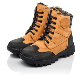 Детские зимние ботинки на меху Woopy Orthopedic рыжие для мальчиков натуральный нубук размер 23-30 (4475) Фото 3