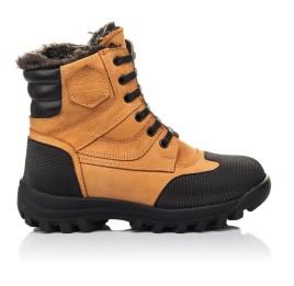 Детские зимние ботинки на меху Woopy Orthopedic рыжие для мальчиков натуральный нубук размер 23-30 (4475) Фото 4