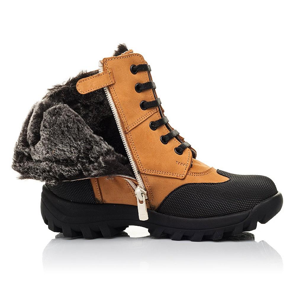 Детские зимние ботинки на меху Woopy Orthopedic рыжие для мальчиков натуральный нубук размер 23-36 (4475) Фото 5