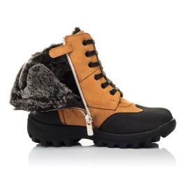 Детские зимние ботинки на меху Woopy Orthopedic рыжие для мальчиков натуральный нубук размер 23-30 (4475) Фото 5