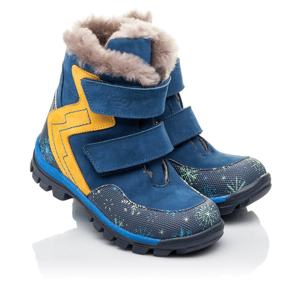 Детские зимние ботинки на меху Woopy Fashion синие для мальчиков натуральный нубук размер 23-33 (4476) Фото 1