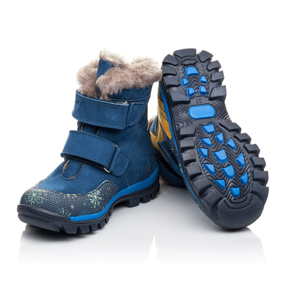 Детские зимние ботинки на меху Woopy Fashion синие для мальчиков натуральный нубук размер 23-33 (4476) Фото 2