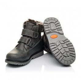 Детские зимние ботинки на меху Woopy Fashion серые для мальчиков натуральная кожа размер 21-30 (4478) Фото 2