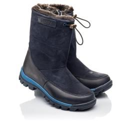 Детские зимние сапоги на меху Woopy Fashion темно-синие для мальчиков натуральная кожа и нубук размер 30-32 (4479) Фото 1