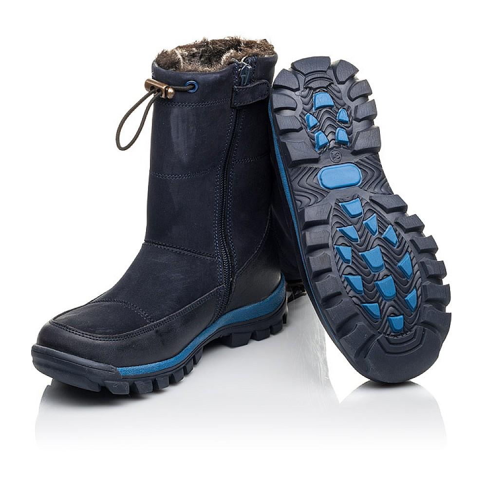 Детские зимние сапоги на меху Woopy Fashion темно-синие для мальчиков натуральная кожа и нубук размер 30-37 (4479) Фото 2