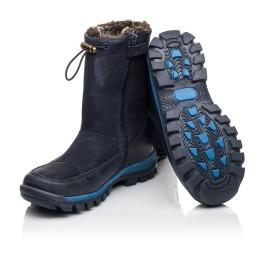 Детские зимние сапоги на меху Woopy Fashion темно-синие для мальчиков натуральная кожа и нубук размер 30-32 (4479) Фото 2