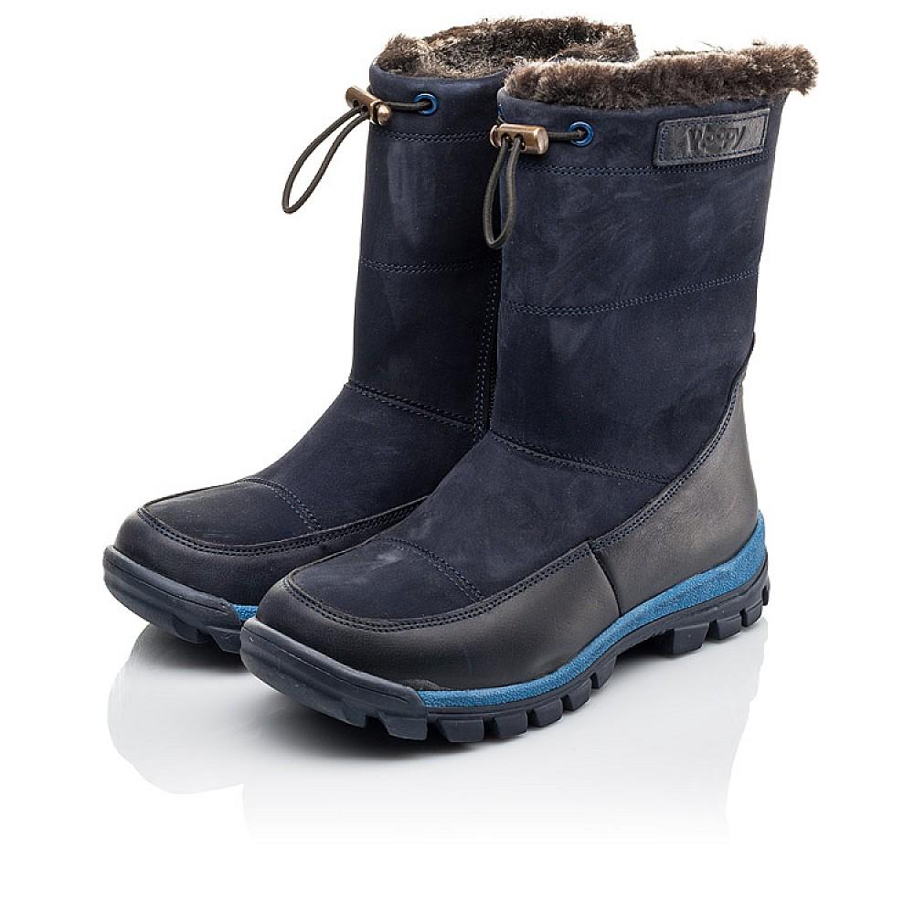 Детские зимние сапоги на меху Woopy Fashion темно-синие для мальчиков натуральная кожа и нубук размер 30-37 (4479) Фото 3