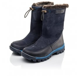 Детские зимние сапоги на меху Woopy Fashion темно-синие для мальчиков натуральная кожа и нубук размер 30-32 (4479) Фото 3