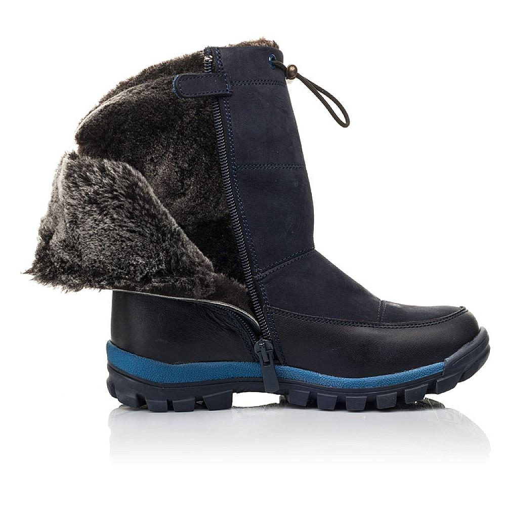 Детские зимние сапоги на меху Woopy Fashion темно-синие для мальчиков натуральная кожа и нубук размер 30-37 (4479) Фото 5