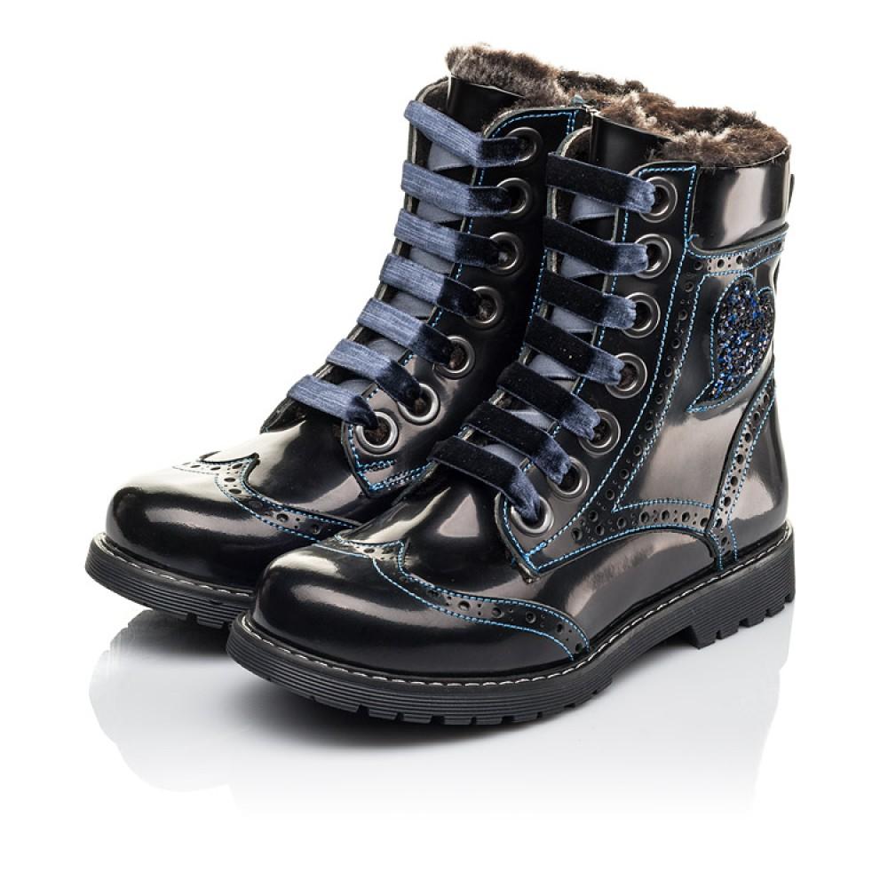 Детские зимние ботинки на меху Woopy Fashion синие для девочек натуральная кожа размер 30-39 (4481) Фото 3