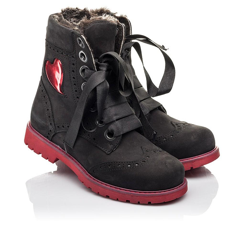 Детские зимние ботинки на меху Woopy Fashion черные для девочек натуральный нубук размер 33-38 (4482) Фото 1