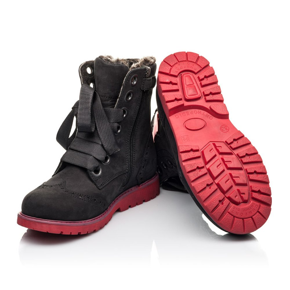 Детские зимние ботинки на меху Woopy Fashion черные для девочек натуральный нубук размер 33-38 (4482) Фото 2