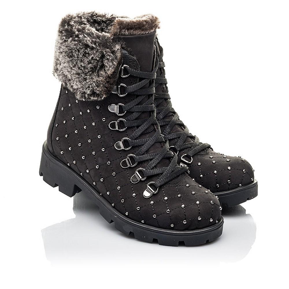 Детские зимние ботинки на меху Woopy Fashion черные для девочек натуральный нубук размер 30-38 (4484) Фото 1
