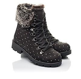 Детские зимние ботинки на меху Woopy Fashion черные для девочек натуральный нубук размер 30-33 (4484) Фото 1