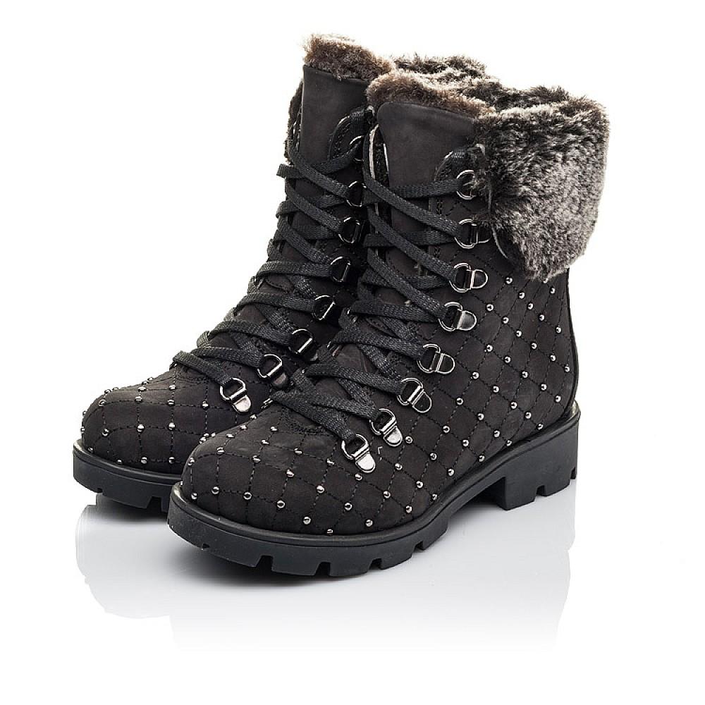 Детские зимние ботинки на меху Woopy Fashion черные для девочек натуральный нубук размер 30-38 (4484) Фото 3