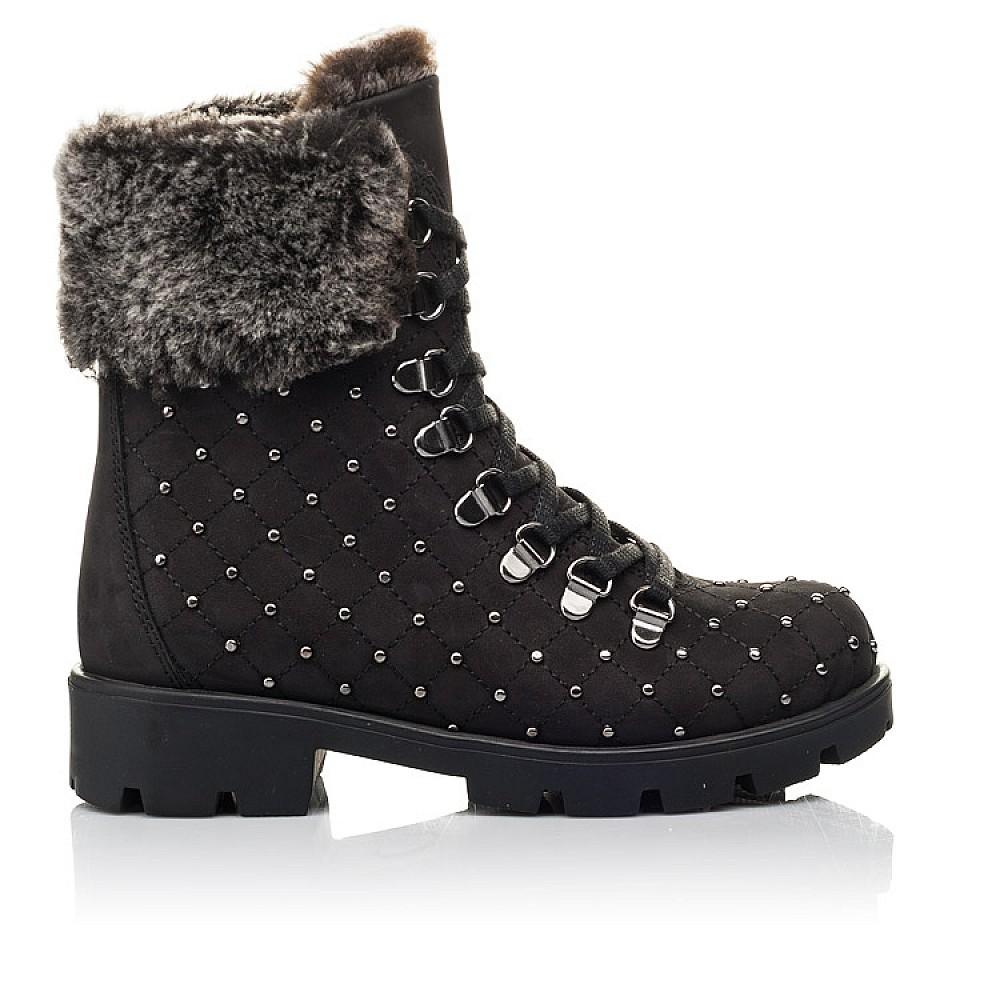 Детские зимние ботинки на меху Woopy Fashion черные для девочек натуральный нубук размер 30-38 (4484) Фото 4