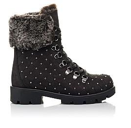 Детские зимние ботинки на меху Woopy Fashion черные для девочек натуральный нубук размер 30-33 (4484) Фото 4