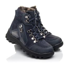Детские зимние ботинки на меху Woopy Fashion синие для мальчиков натуральная кожа и нубук размер 25-33 (4486) Фото 1