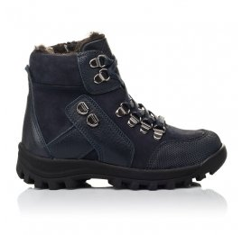 Детские зимние ботинки на меху Woopy Fashion синие для мальчиков натуральная кожа и нубук размер 26-33 (4486) Фото 4