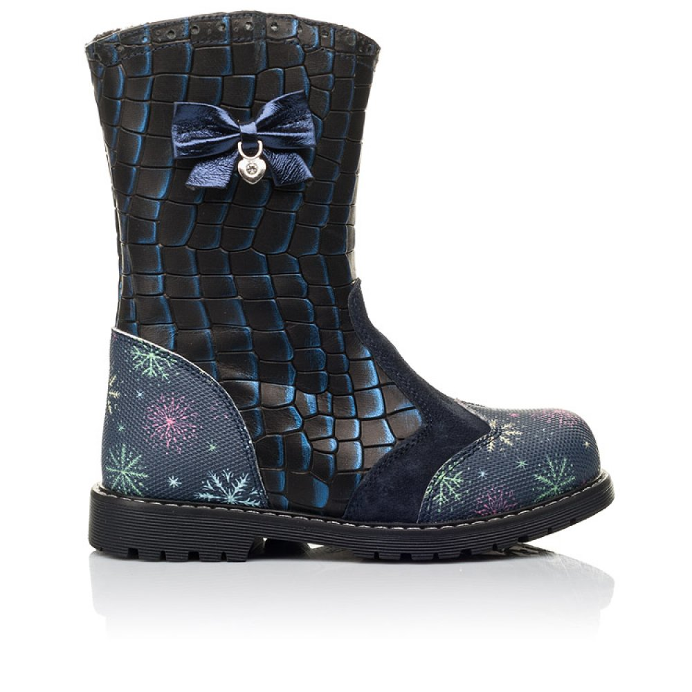 Детские зимние сапоги на меху Woopy Fashion синие для девочек натуральная кожа размер 23-33 (4487) Фото 4
