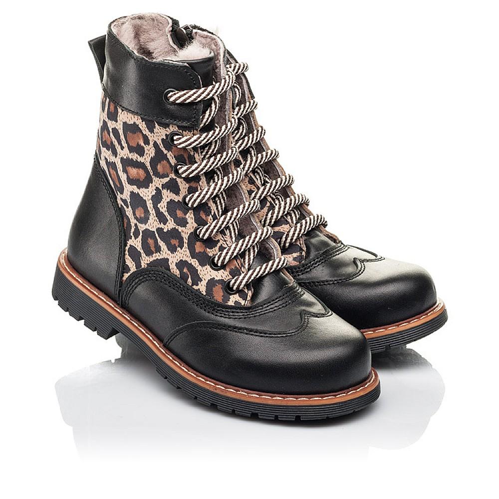 Детские зимние ботинки на меху Woopy Fashion черные для девочек натуральная кожа и нубук размер 29-38 (4490) Фото 1