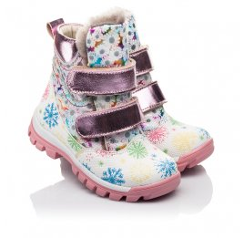 Детские зимние ботинки на меху Woopy Fashion разноцветные для девочек натуральная кожа размер 24-32 (4492) Фото 1