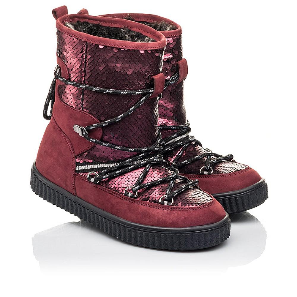 Детские зимние сапоги на меху Woopy Fashion бордовые для девочек натуральный нубук размер 27-37 (4495) Фото 1
