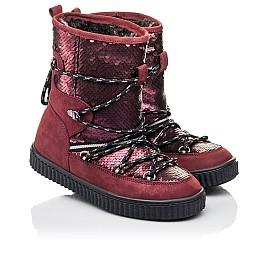 Детские зимние сапоги на меху Woopy Fashion бордовые для девочек натуральный нубук размер 27-36 (4495) Фото 1