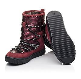 Детские зимние сапоги на меху Woopy Fashion бордовые для девочек натуральный нубук размер 27-36 (4495) Фото 2