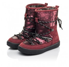 Детские зимние сапоги на меху Woopy Fashion бордовые для девочек натуральный нубук размер 27-36 (4495) Фото 3