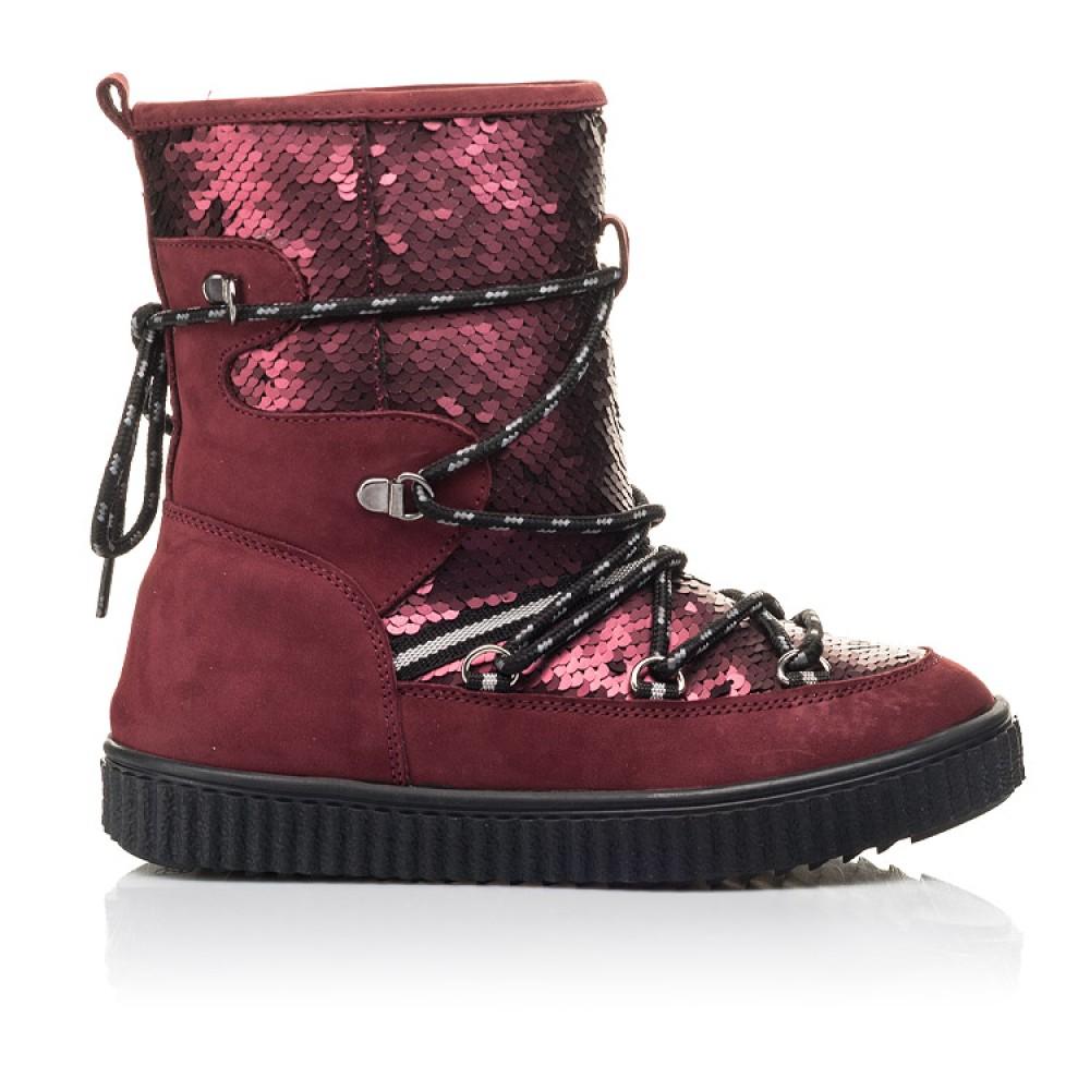 Детские зимние сапоги на меху Woopy Fashion бордовые для девочек натуральный нубук размер 27-37 (4495) Фото 4
