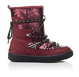 Детские зимние сапоги на меху Woopy Fashion бордовые для девочек натуральный нубук размер 27-36 (4495) Фото 4