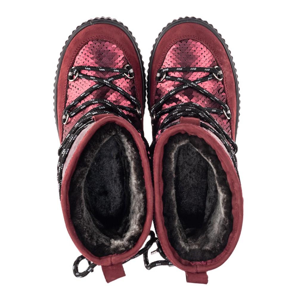 Детские зимние сапоги на меху Woopy Fashion бордовые для девочек натуральный нубук размер 27-37 (4495) Фото 5