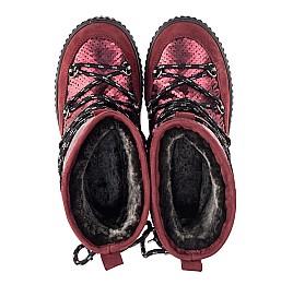 Детские зимние сапоги на меху Woopy Fashion бордовые для девочек натуральный нубук размер 27-36 (4495) Фото 5
