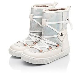 Детские зимние сапоги на меху Woopy Fashion бежевые для девочек  натуральная кожа размер 26-37 (4501) Фото 3