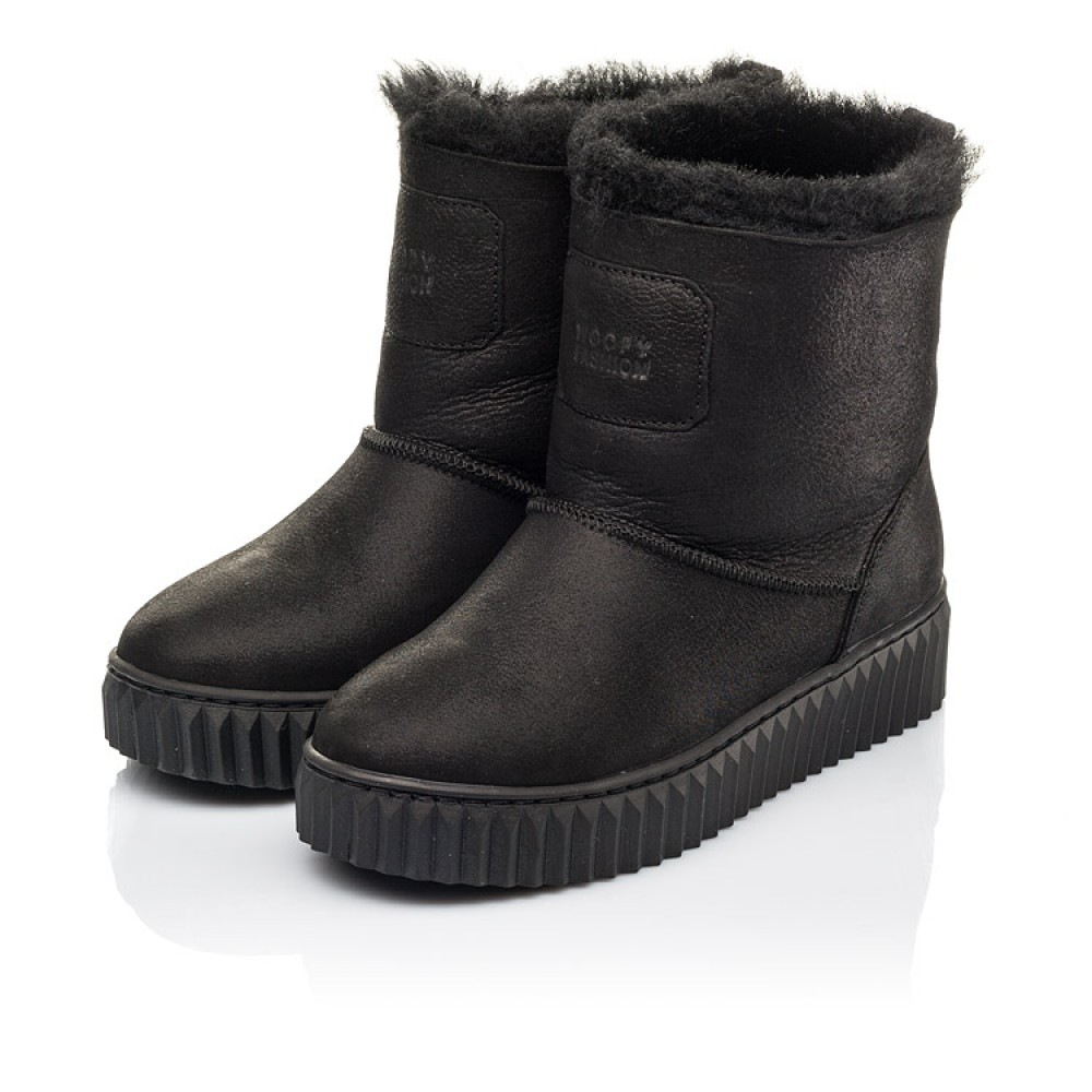 Детские зимние угги на меху Woopy Fashion черные для девочек натуральный нубук размер 31-41 (4502) Фото 3