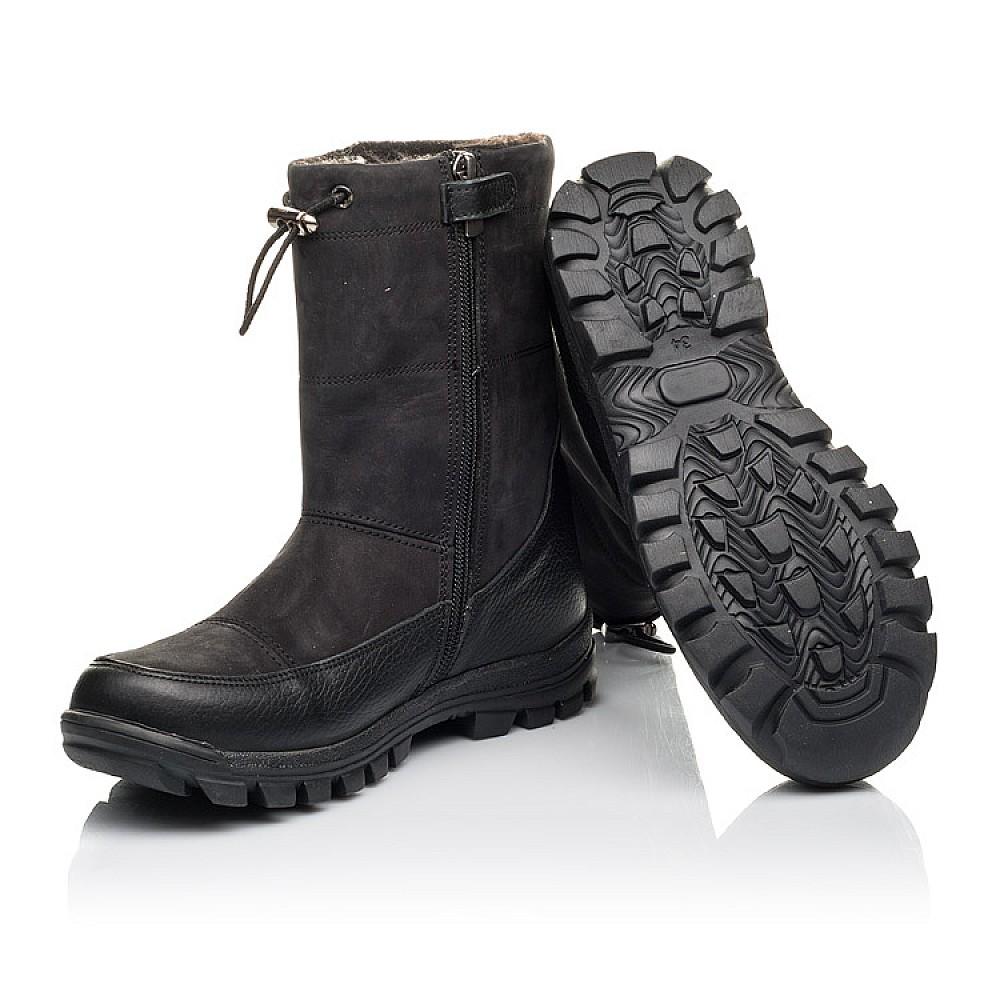 Детские зимние сапоги на меху Woopy Fashion черные для мальчиков натуральная кожа и нубук размер 30-39 (4503) Фото 2