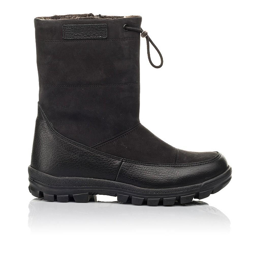 Детские зимние сапоги на меху Woopy Fashion черные для мальчиков натуральная кожа и нубук размер 30-39 (4503) Фото 4