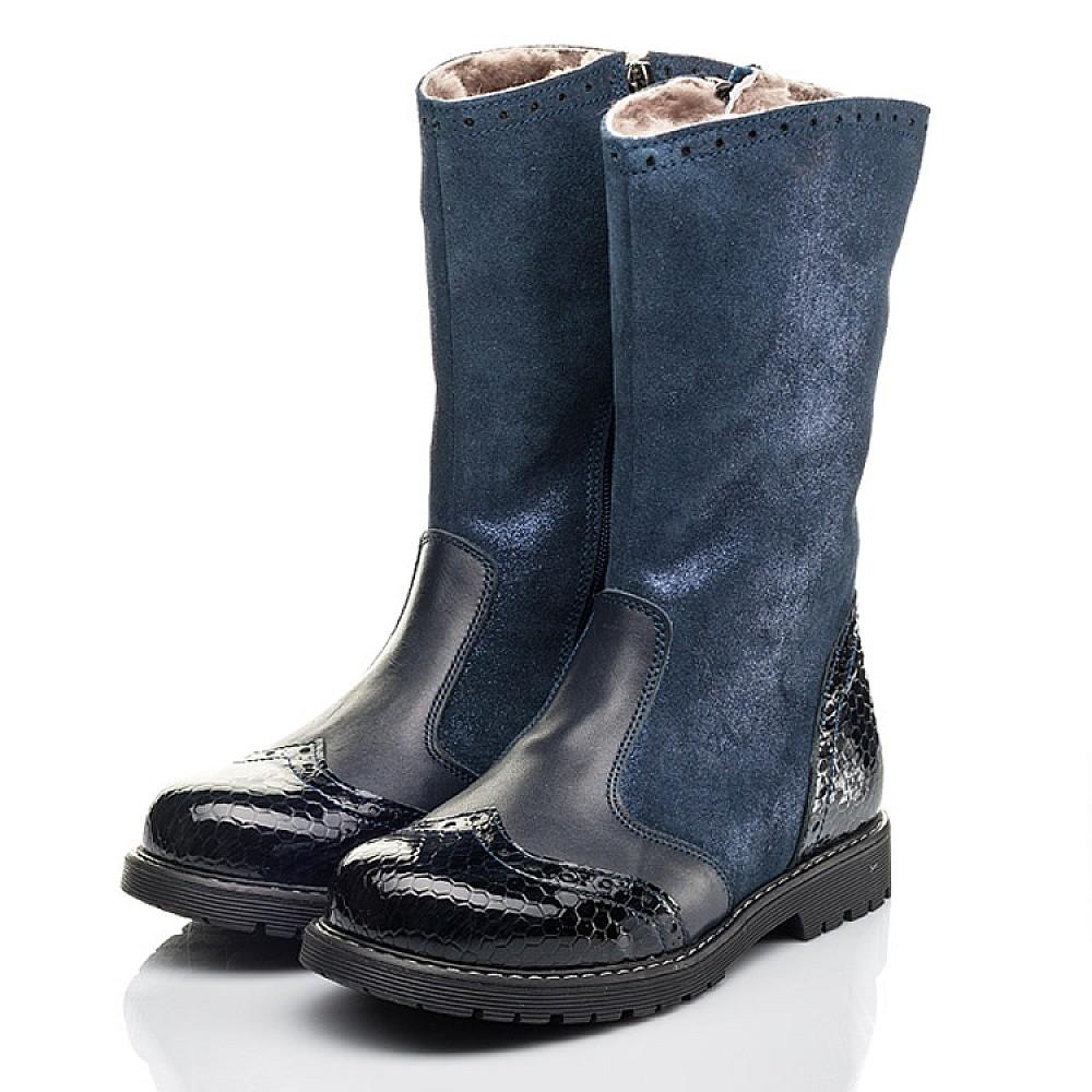 Детские зимние сапоги на меху Woopy Fashion синие для девочек натуральная кожа и нубук размер 31-39 (4504) Фото 3
