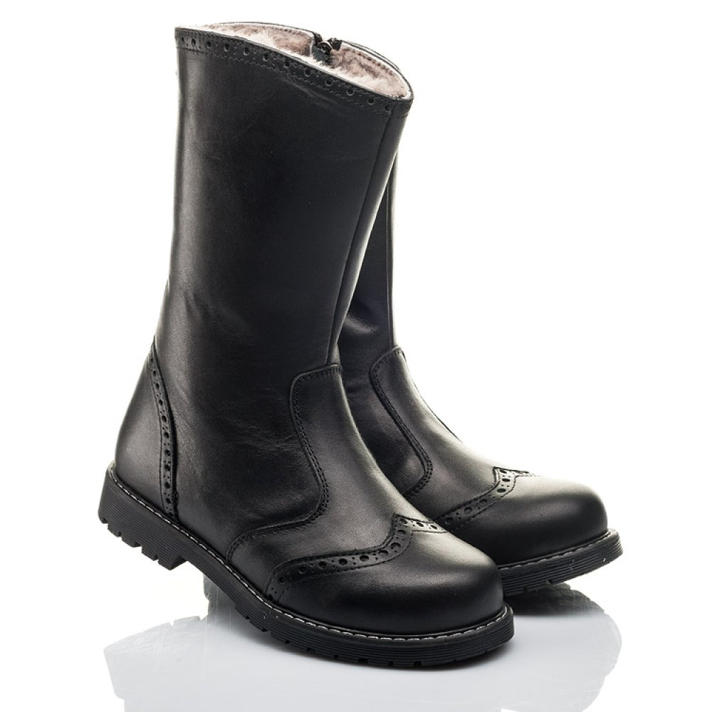 Детские зимние сапоги на меху Woopy Fashion черные для девочек натуральная кожа размер 31-40 (4505) Фото 1