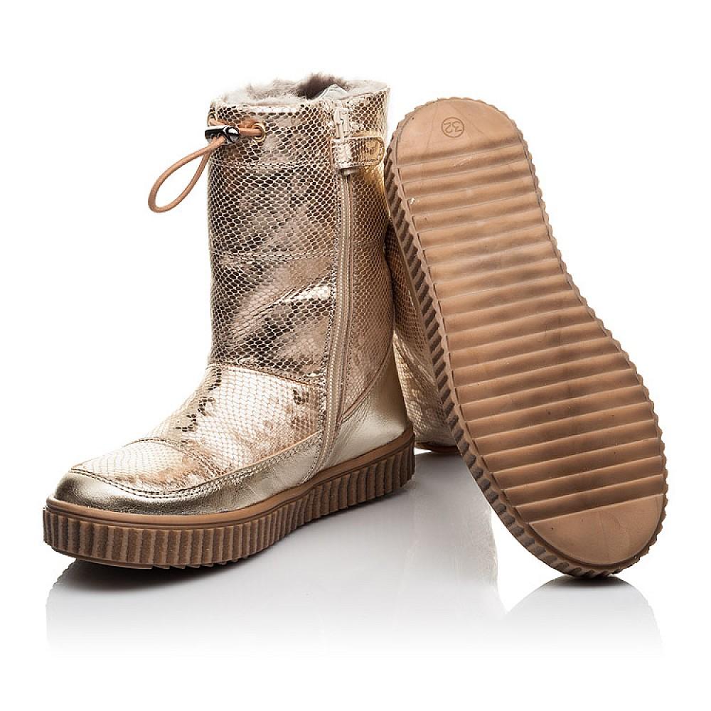 Детские зимние сапоги на меху Woopy Fashion золотые для девочек натуральная кожа размер 31-38 (4507) Фото 2