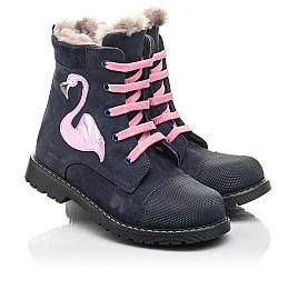 Детские зимние ботинки на меху Woopy Fashion синие для девочек натуральный нубук размер 22-29 (4508) Фото 1