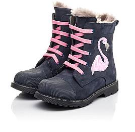 Детские зимние ботинки на меху Woopy Fashion синие для девочек натуральный нубук размер 22-29 (4508) Фото 3