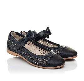 Детские туфли Woopy Fashion синие для девочек натуральная кожа, нубук размер 30-35 (5012) Фото 1