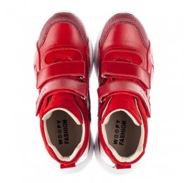 Детские демисезонные ботинки (подкладка кожа) Woopy Fashion красные для девочек натуральная кожа, нубук и замша размер 28-38 (5021) Фото 5