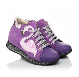 Детские демисезонные ботинки (подкладка кожа) Woopy Fashion фиолетовые для девочек натуральный нубук размер 28-35 (5022) Фото 1