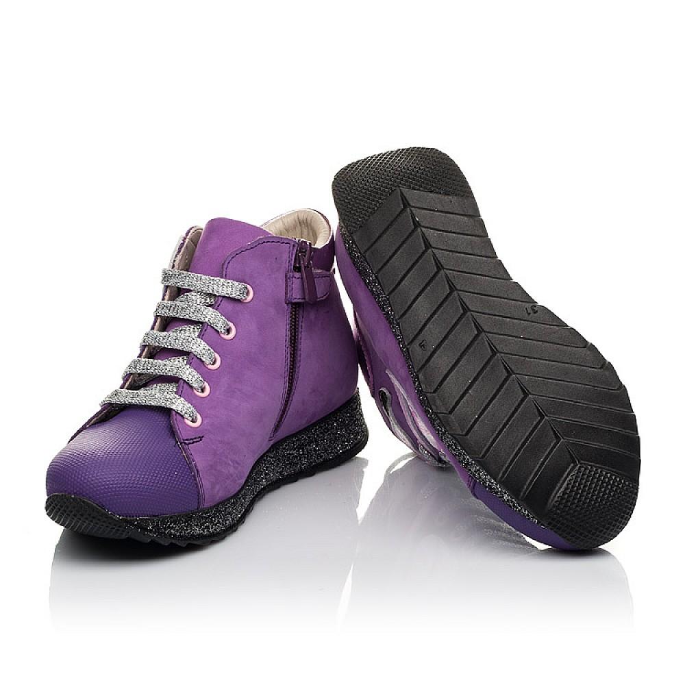Детские демисезонные ботинки (подкладка кожа) Woopy Fashion фиолетовые для девочек натуральный нубук размер 28-35 (5022) Фото 2